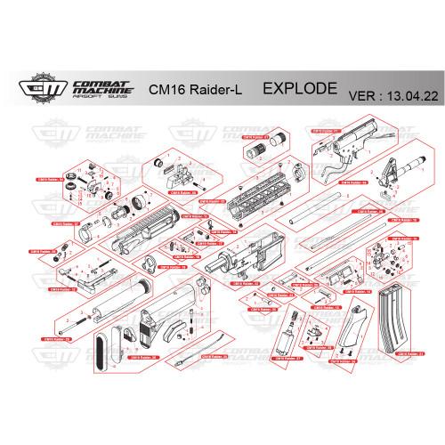 G&G AIRSOFT CM16 RAIDER-L RIFLE DIAGRAM