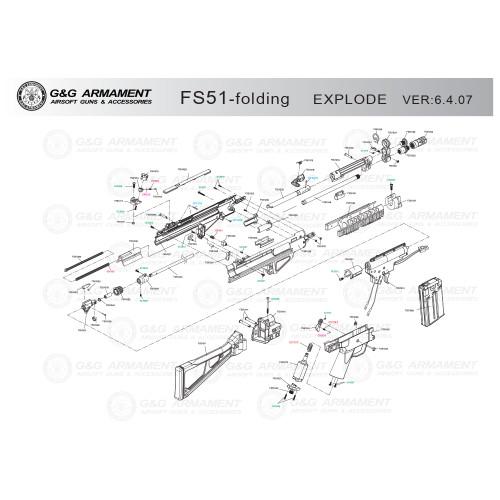 G&G AIRSOFT FS51 FOLDING STOCK RIFLE DIAGRAM