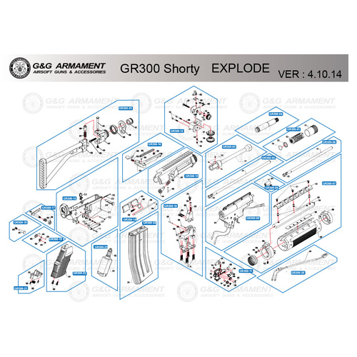 G&G AIRSOFT GR300 SHORTY RIFLE DIAGRAM