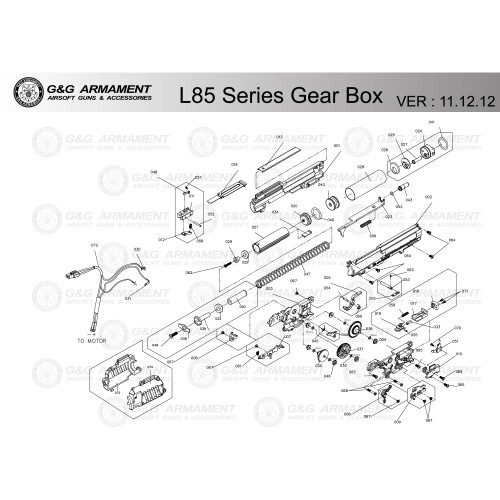 G&G AIRSOFT L85 SERIES GEARBOX DIAGRAM