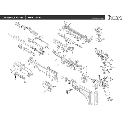 KWA AIRSOFT H&K G36C RIFLE DIAGRAM