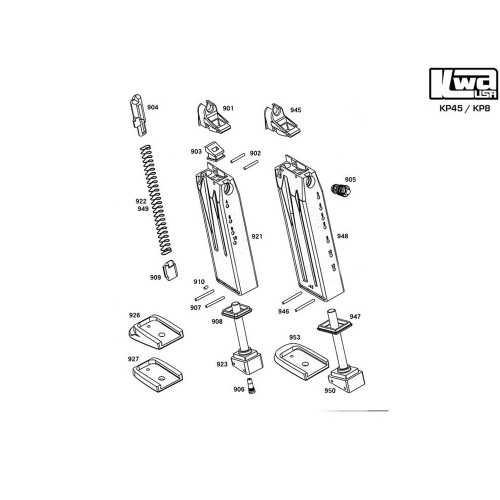KWA AIRSOFT KP45/KP8 MAGAZINE DIAGRAM