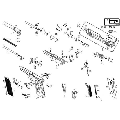 KWA AIRSOFT M945 PISTOL DIAGRAM