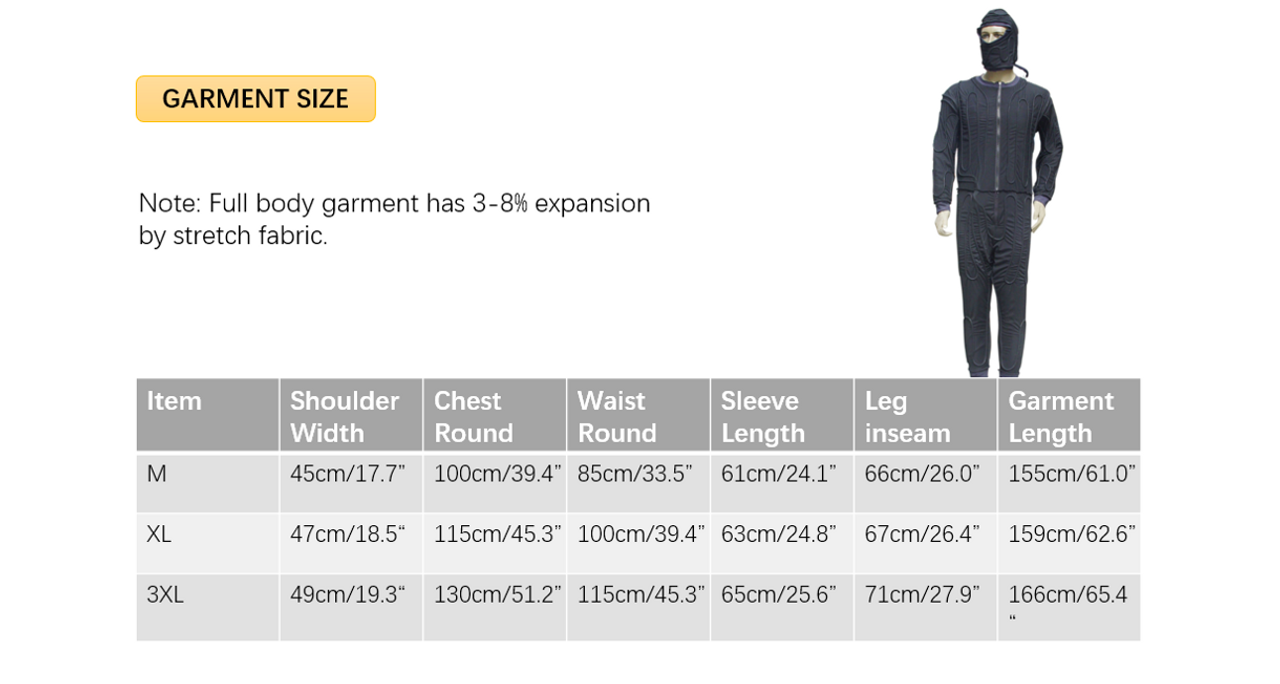 Whole Body Ice Water Circulating Cooling Suit Sizing