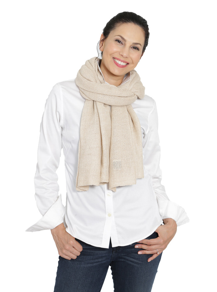 Emery Baby Alpaca & Silk Scarf / Shawl Oversized scarf at neck