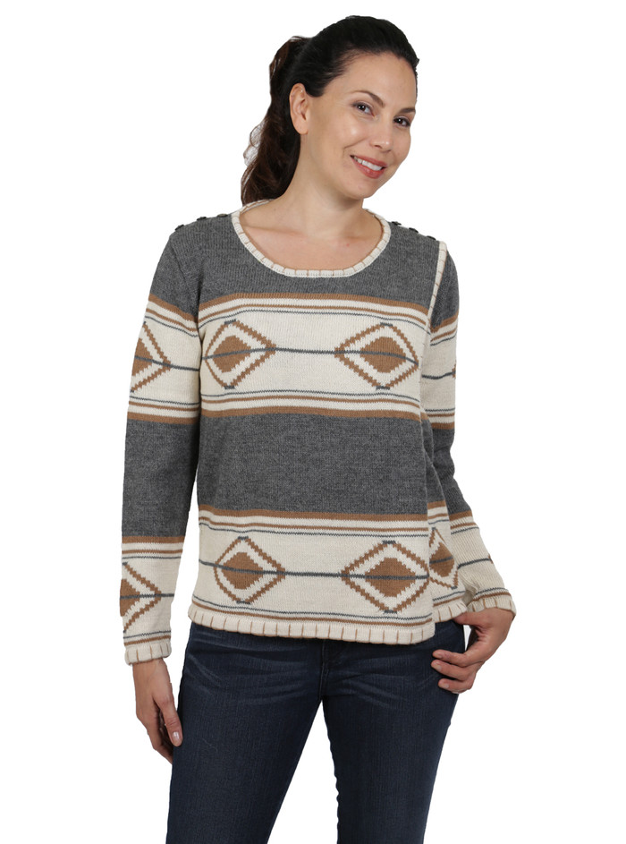 Tribal Style Aztec Blanket Pullover Front