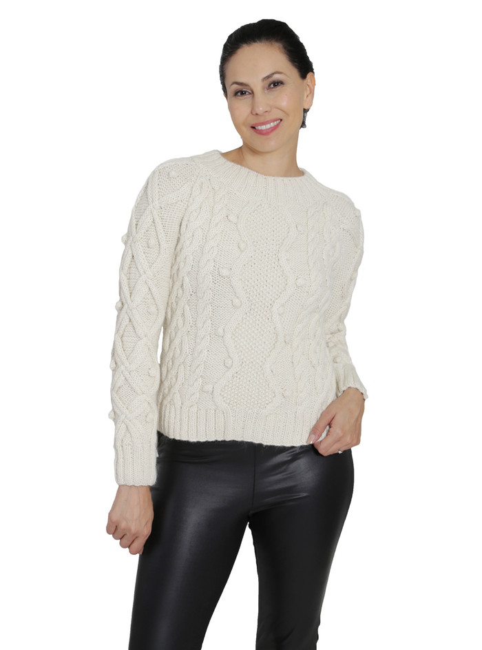 Olivia Aran Cropped Alpaca Sweater  Front on Model