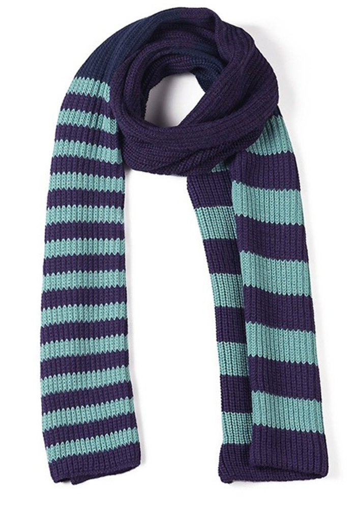 Variegated Stripe Knit Baby Alpaca Scarf - Plum/Navy/Turquoise