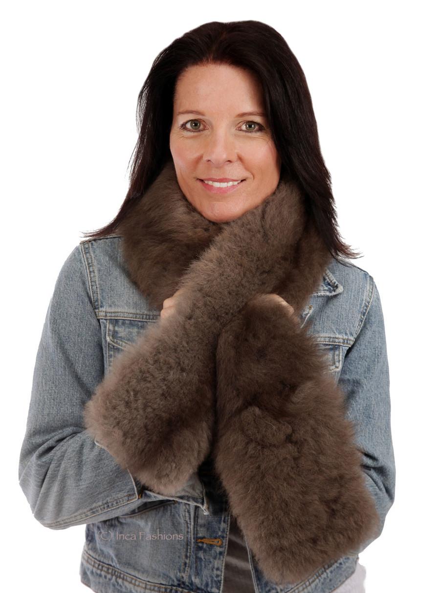 Tucker Baby Alpaca Fur Scarf On Model - Mocha