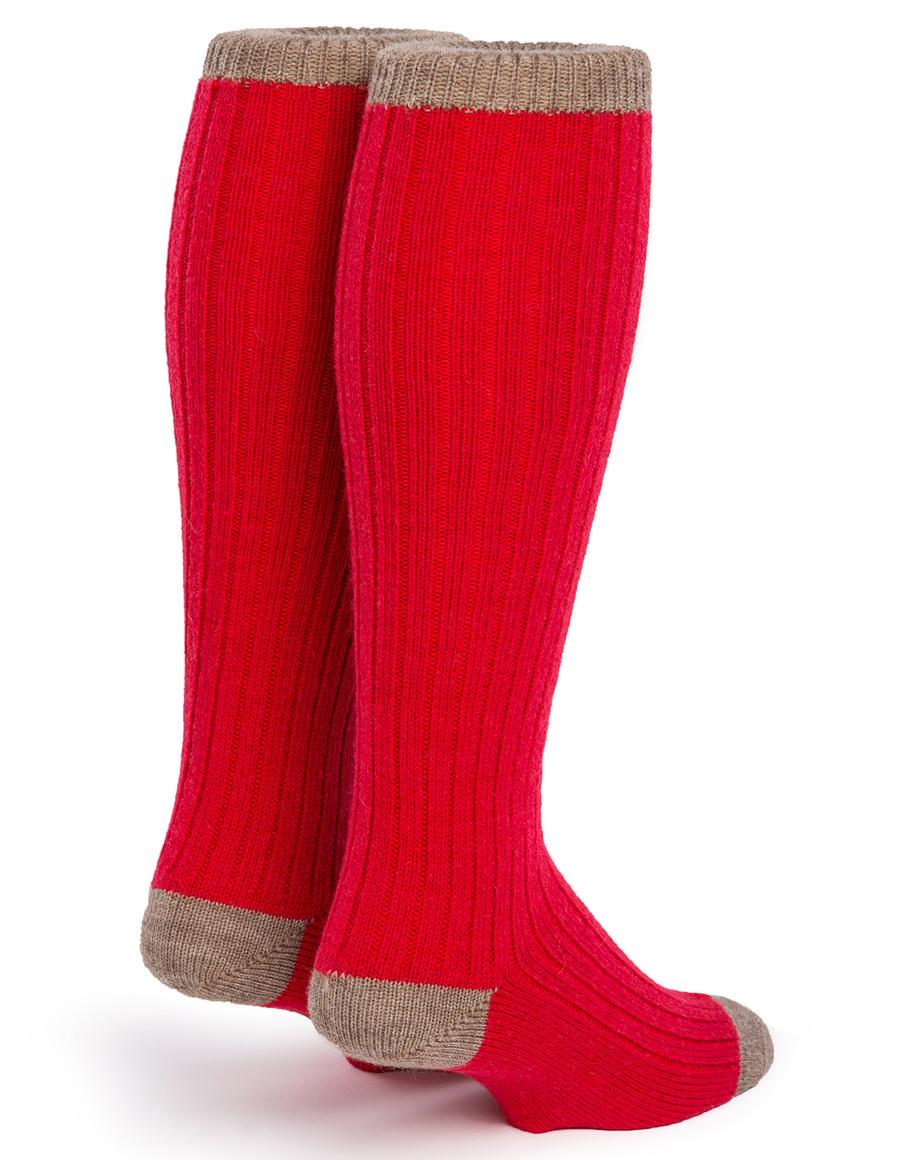 Color Block Long John Alpaca Socks -  Back