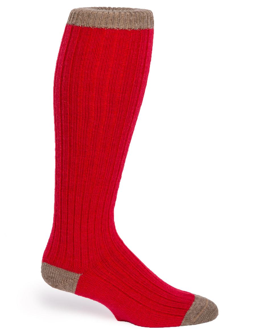 Color Block Long John Alpaca Socks - Side