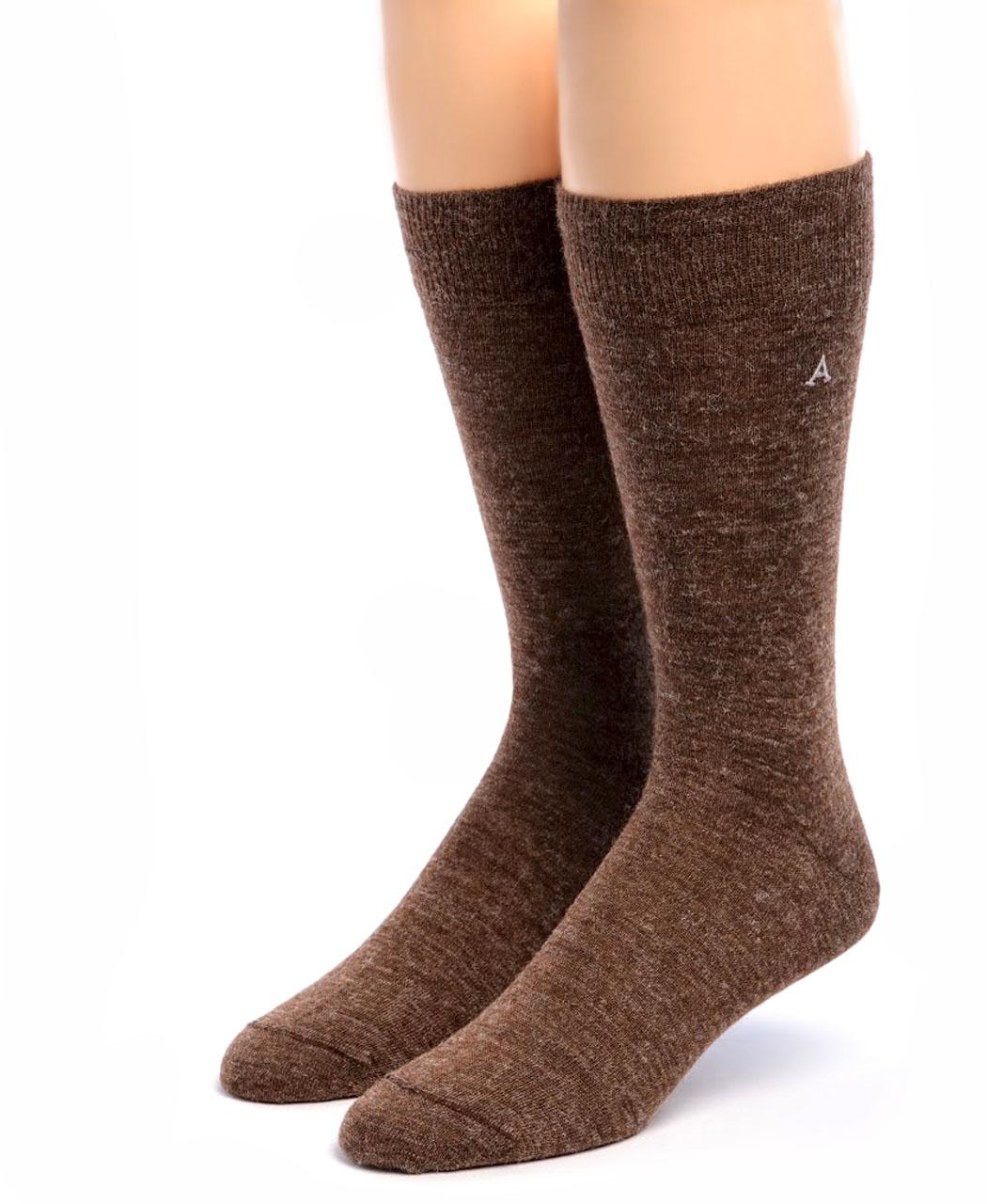 Men's Alpaca Trouser Socks Walnut Front