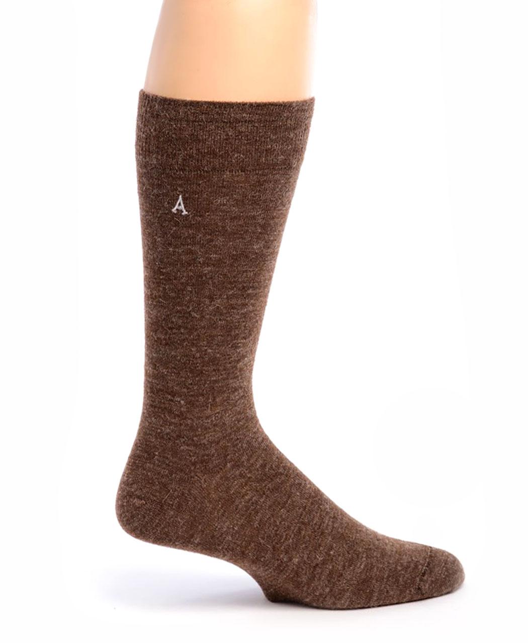 Men's Alpaca Trouser Socks Walnut Side