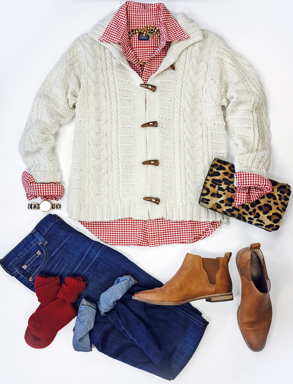 Traditional Aran Cardigan Fashion layout with jeans, red alpaca socks, boots and leopard clutch