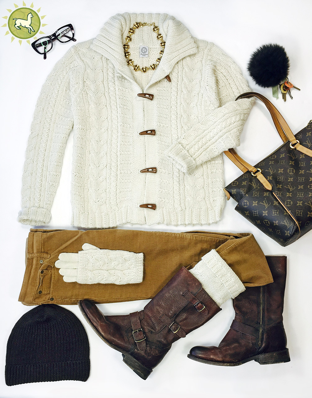 Traditional Aran Cardigan Fashion layout with cords, gloves, boot cuff, cap and key fob