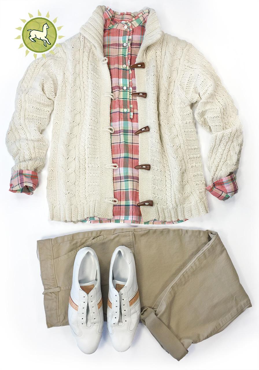 Traditional Aran Cardigan Fashion layout with khaki pants, plaid shirt and tennis shoes