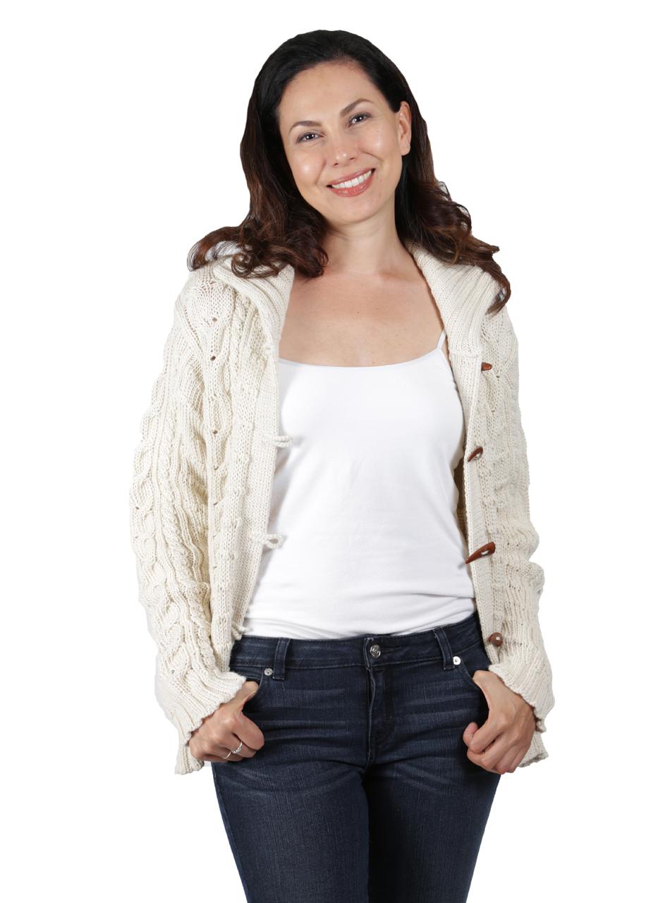 Traditional Aran Cardigan Front