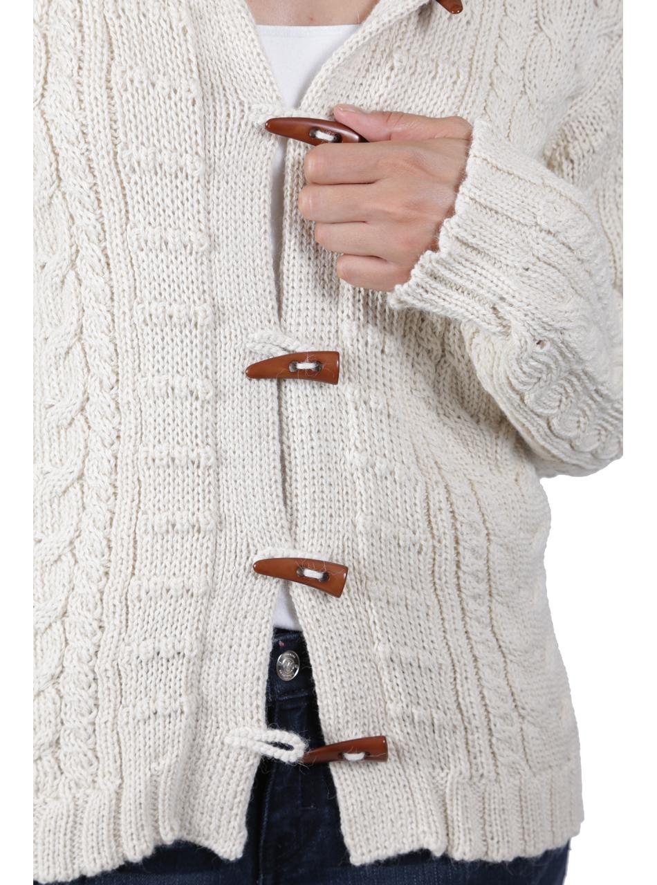 Traditional Aran Cardigan Detail