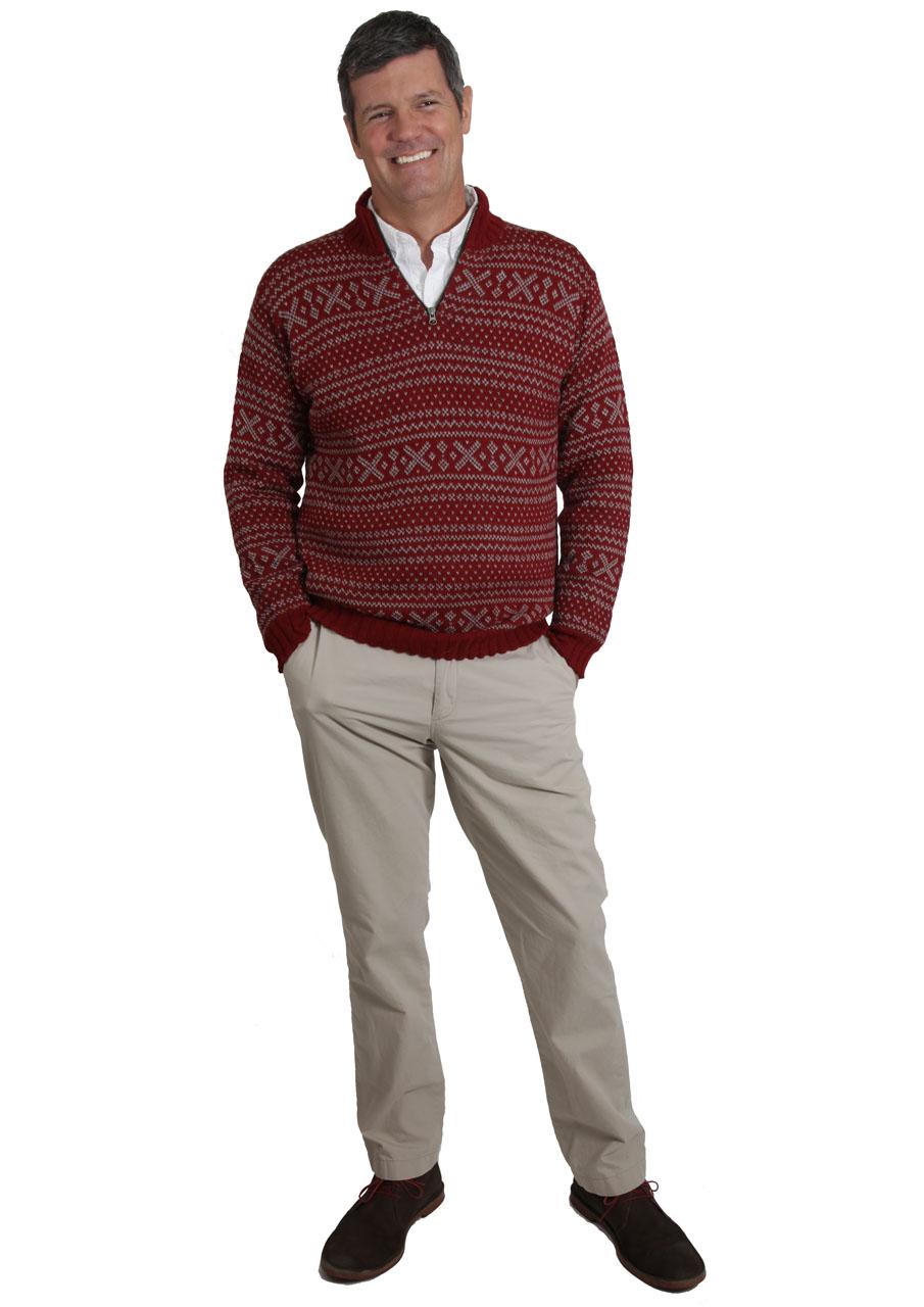 Men's Alpaca Zip Neck 1953 Pullover Sweater Antique Red - On Model - Full Body Image