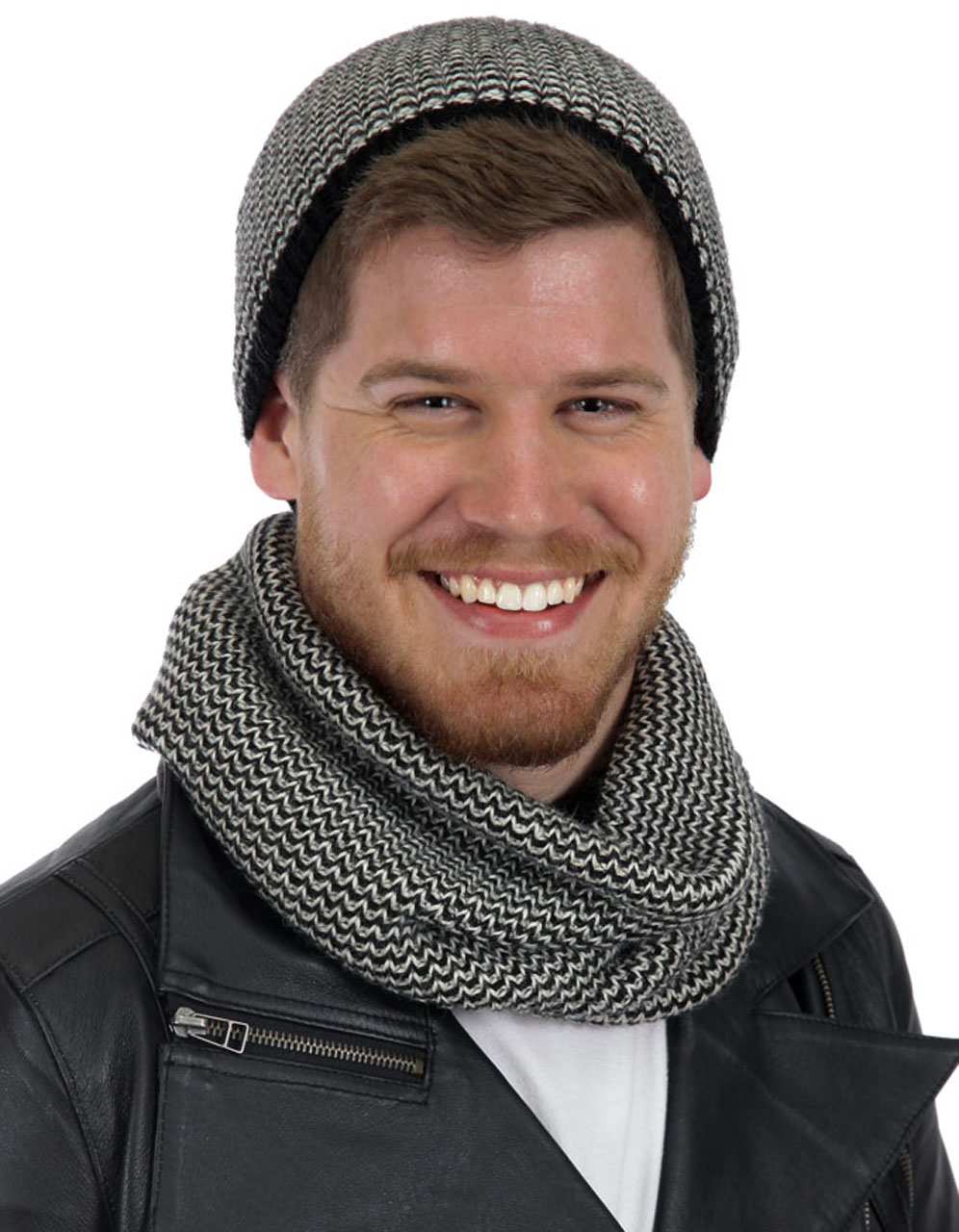 Unisex Chevron Alpaca Circle Scarf and Beanie Black / Cream - Male Model