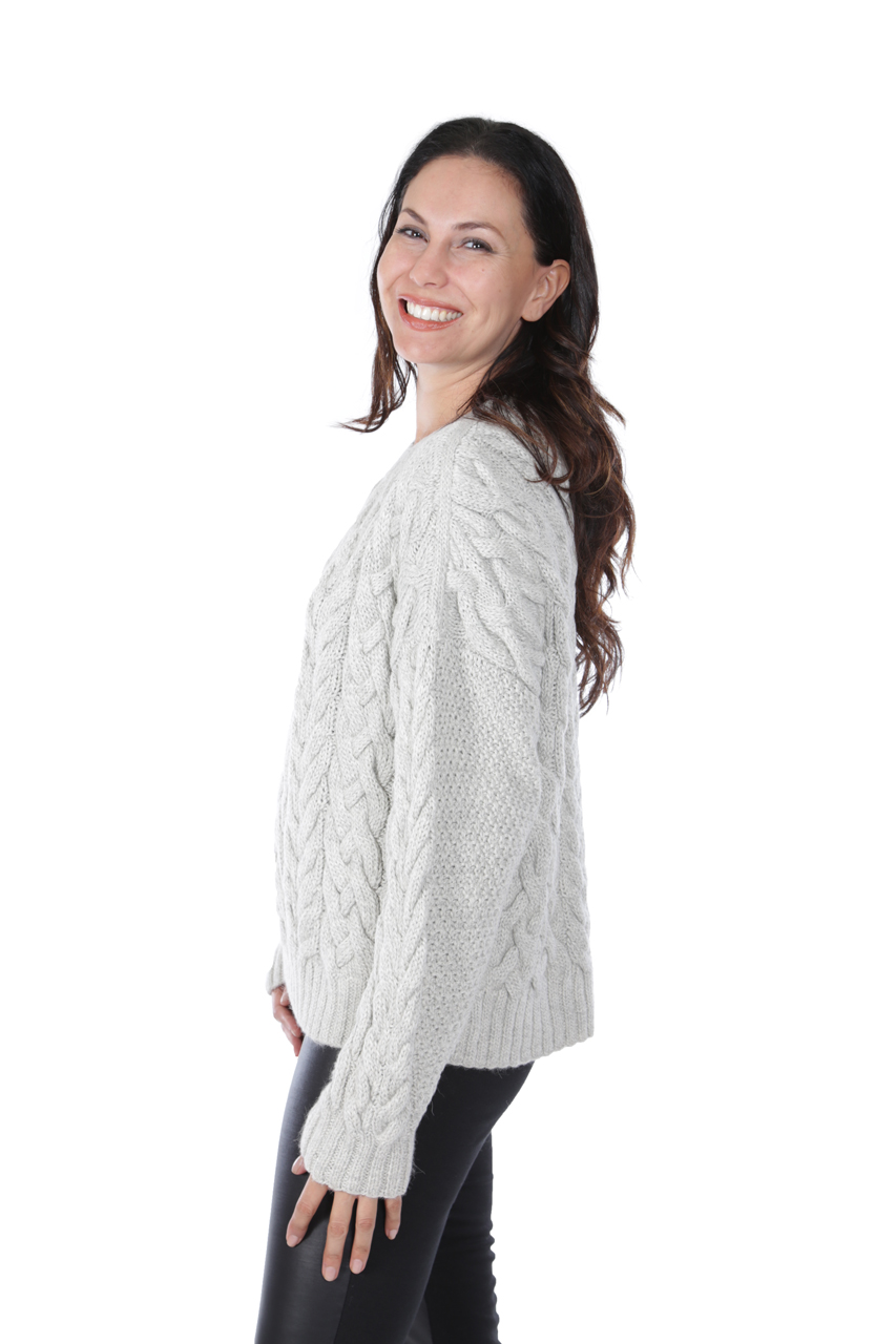 Alexa Cable Pullover Sweater  Side-view on Model