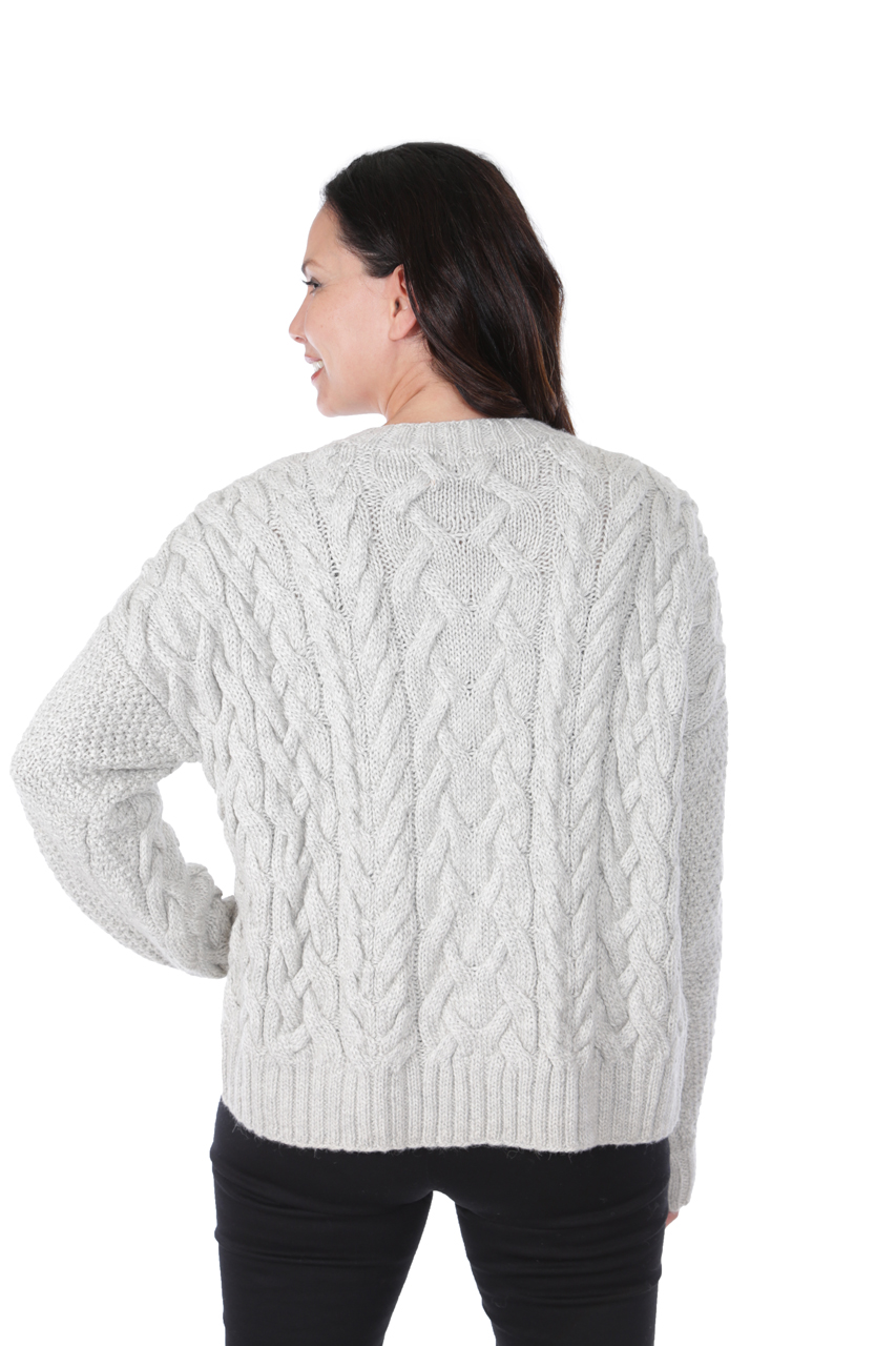 Alexa Cable Pullover Sweater  Back on Model