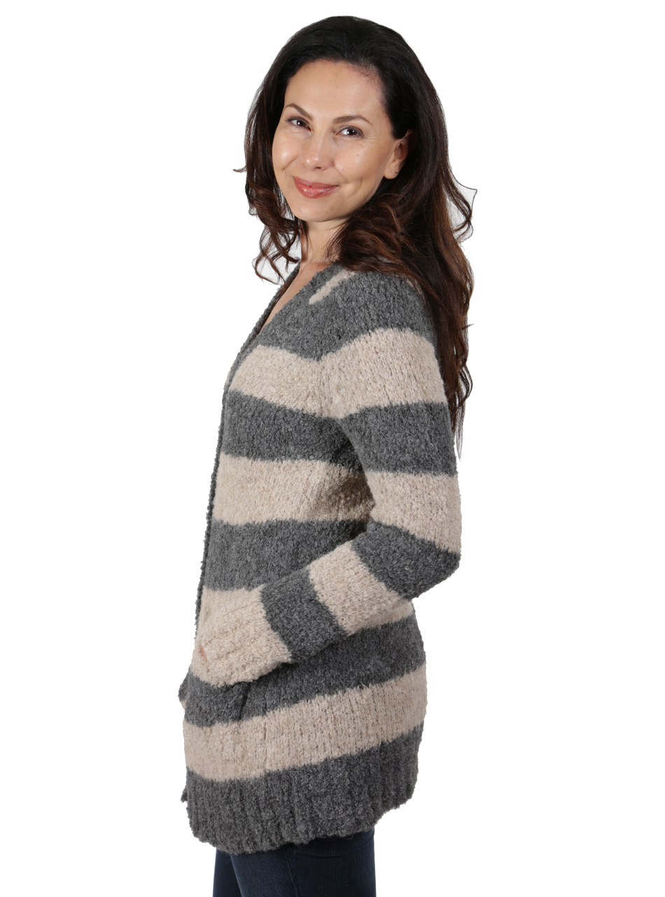 Long Striped Boucle Cardigan Side