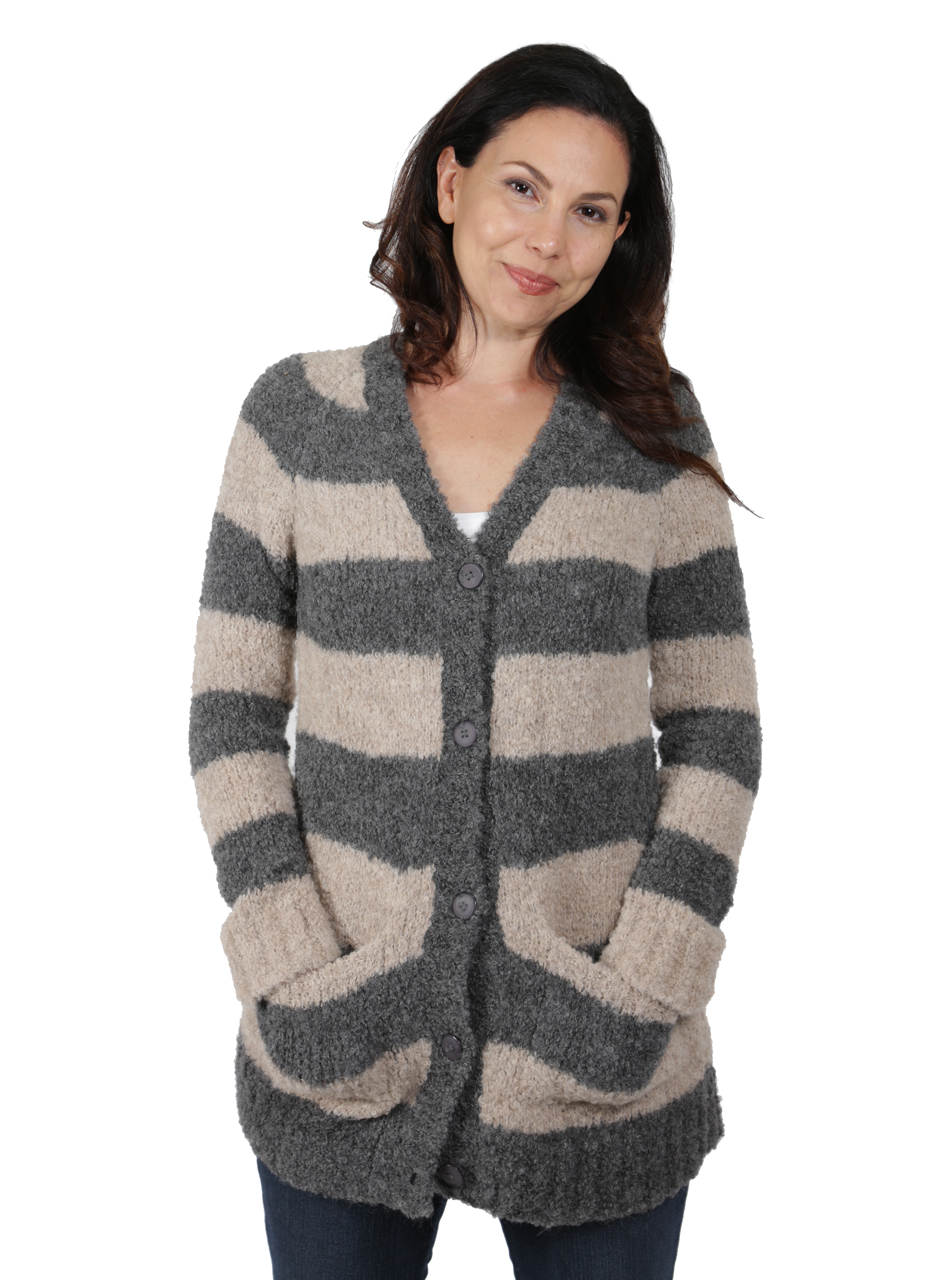 Long Striped Boucle Cardigan Front