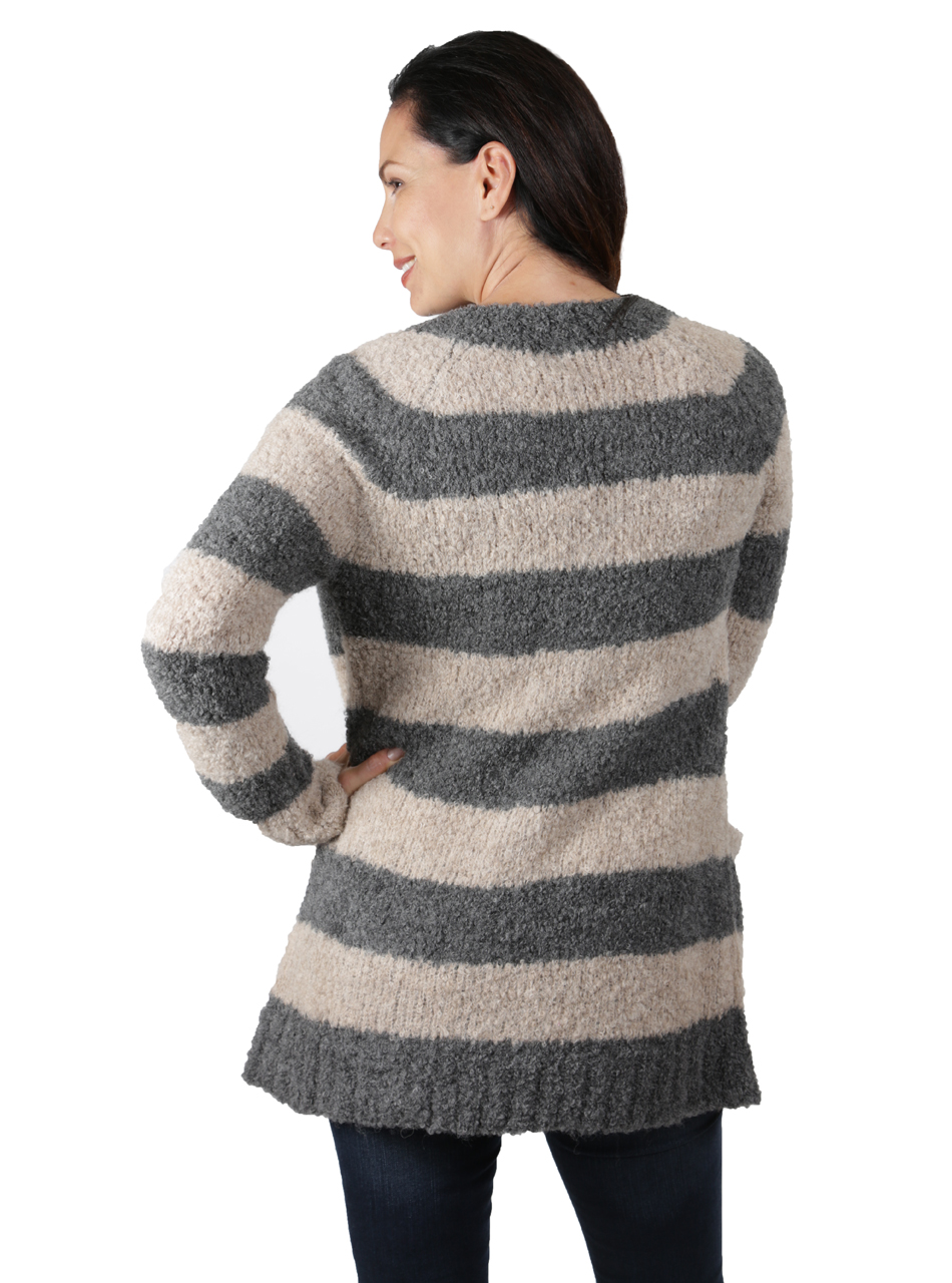 Long Striped Boucle Cardigan Back