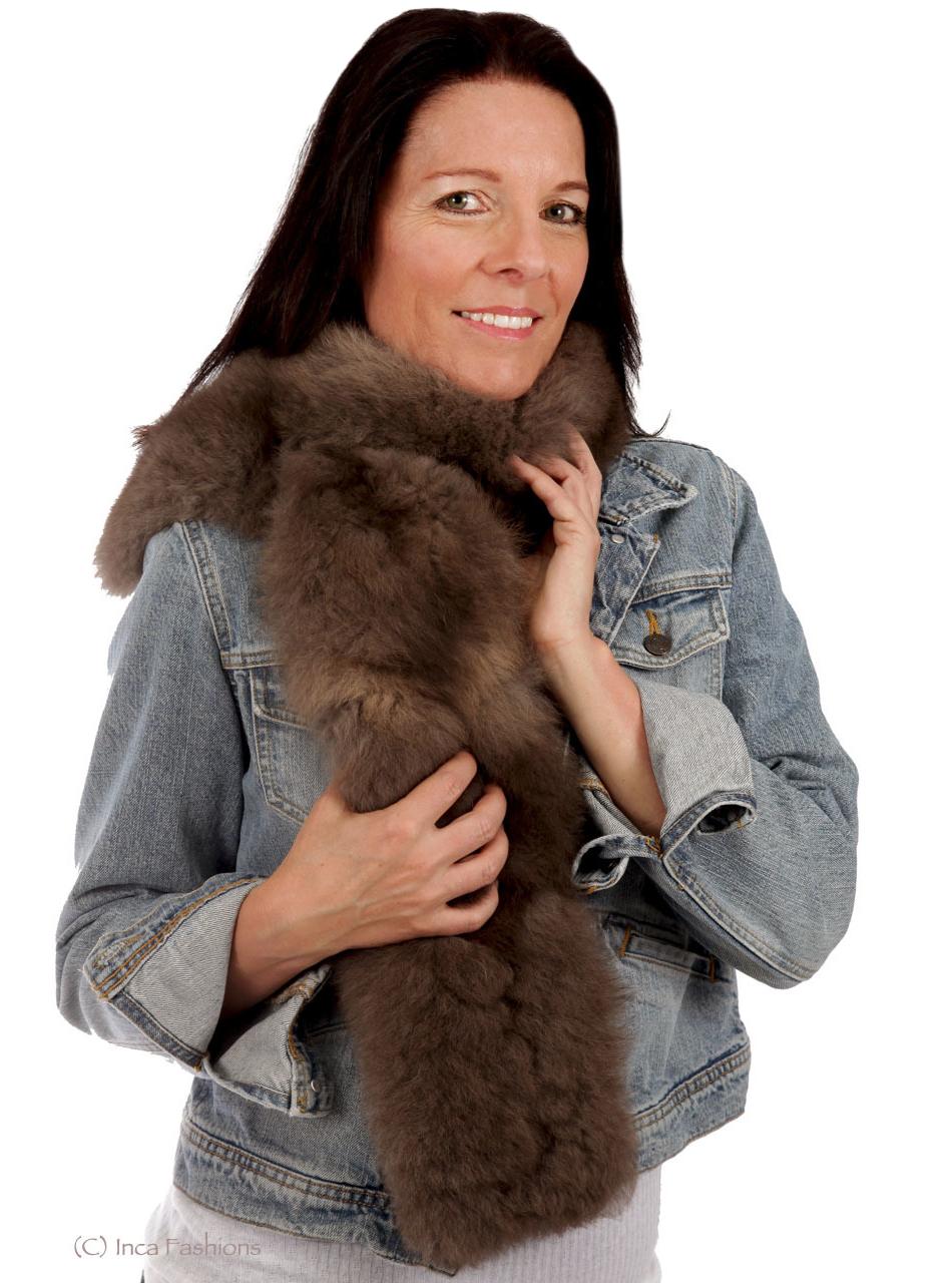 Tucker Baby Alpaca Fur Scarf On Model - Mocha - Alt Image