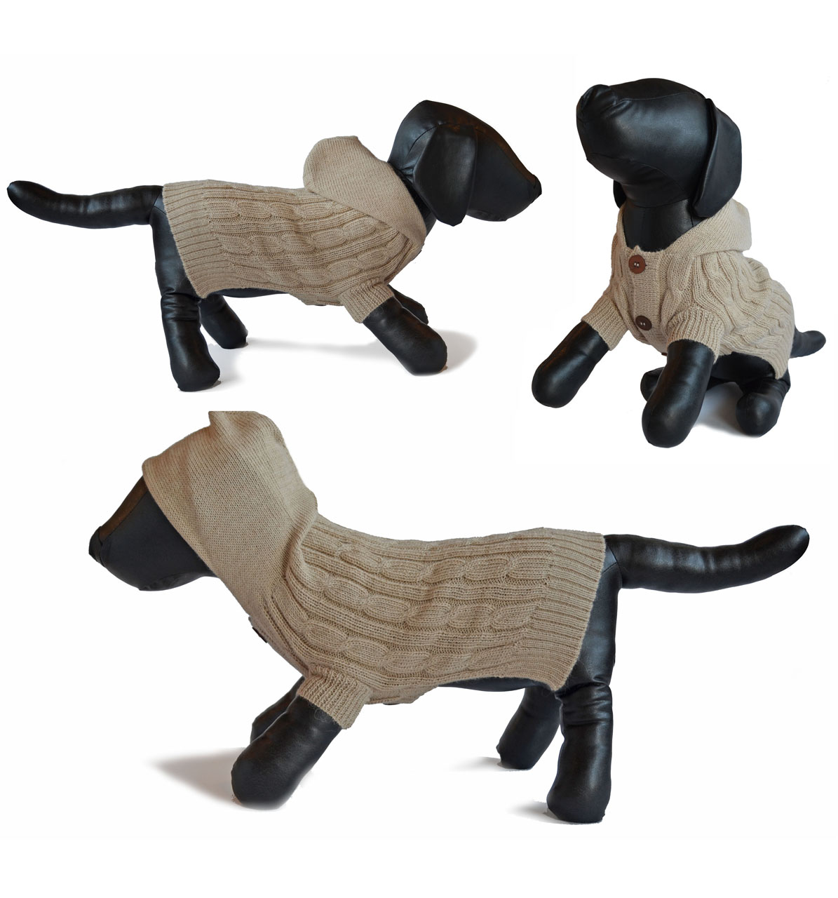 Fisherman Hooded Dog Cardigan Sweater & Adult Scarf Set Dog sweater shown multiple sides