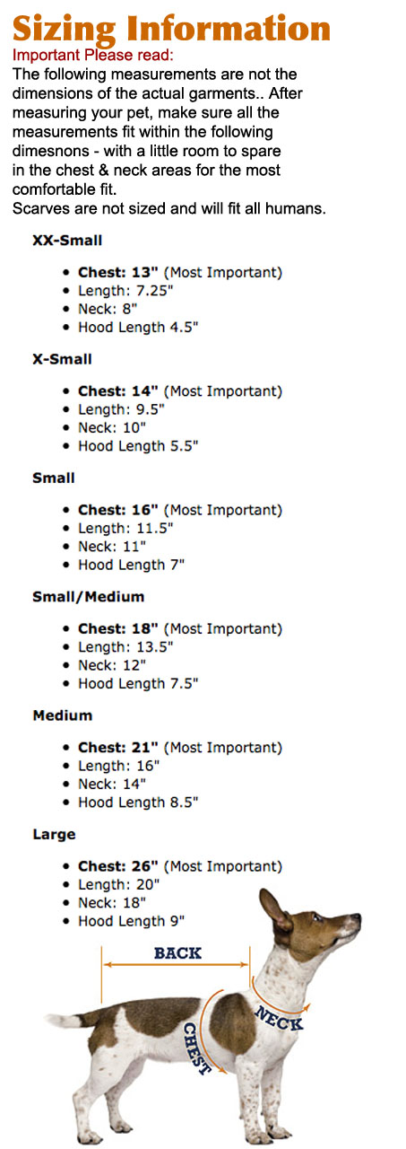 Dog Sweater Size Guide