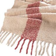 Whisper Soft Single Stripe Nubby Scarf Brick / Ecru - Close Up