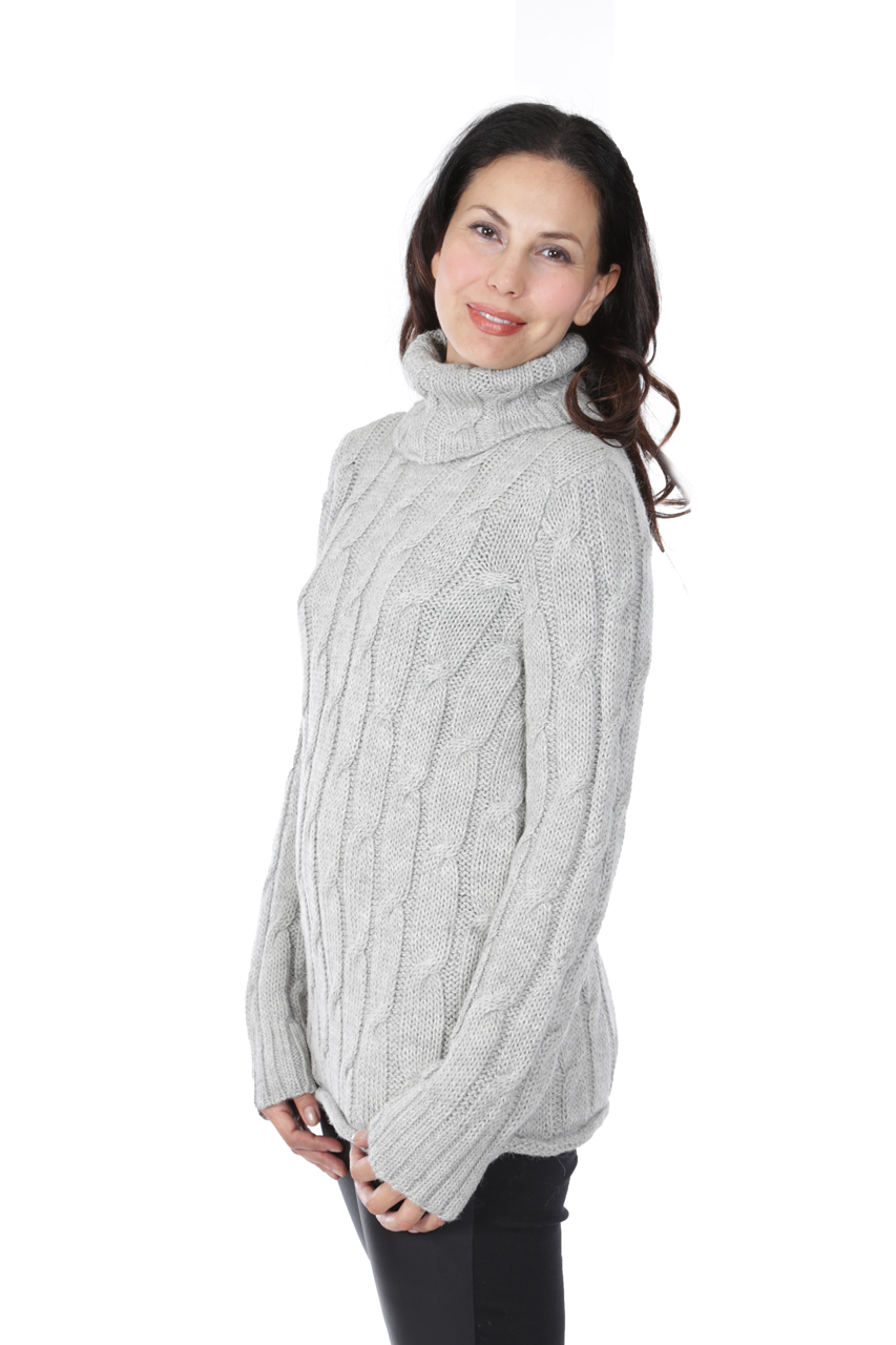 Phoebe Cable Turtleneck Side-view on Model