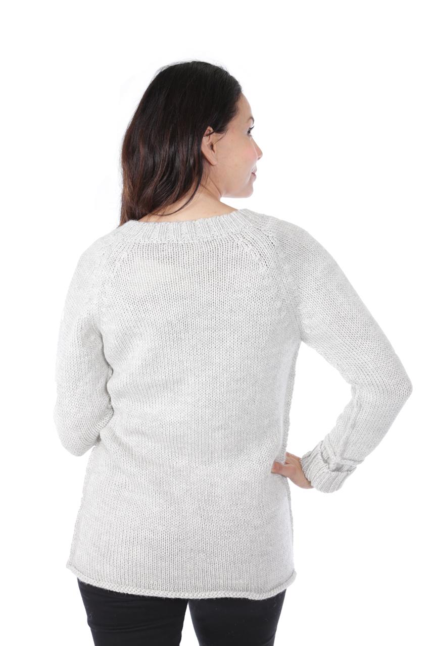 Knightley V-Neck Sweater Back on Model