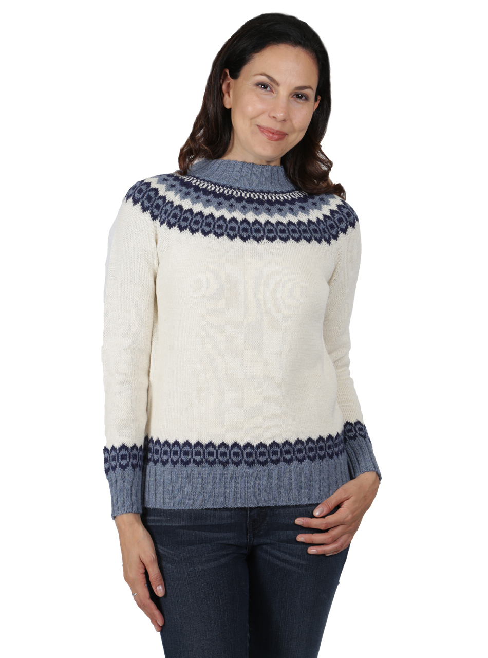 Baltic Sea Fair Isle Crew Pullover Front