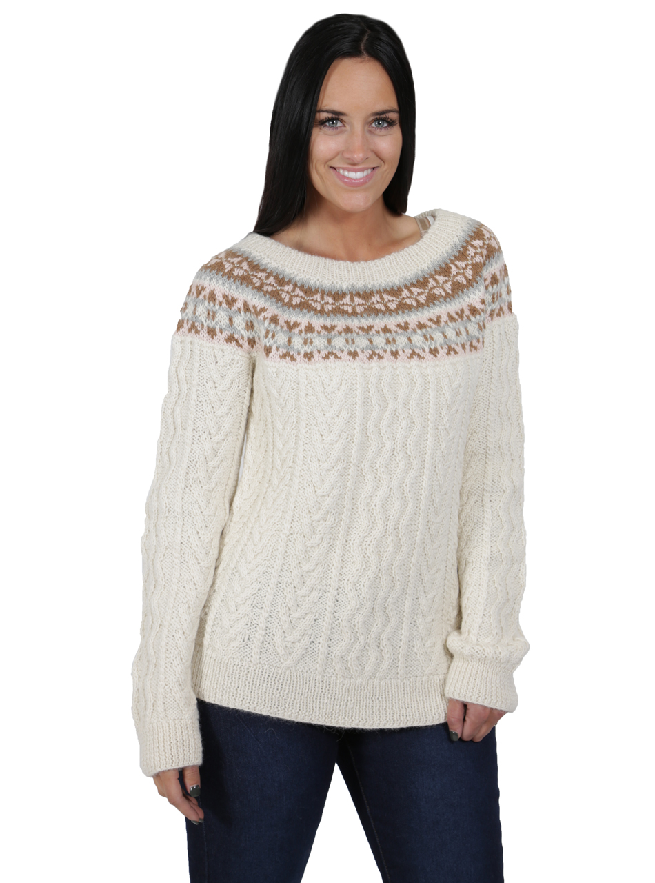 Hand Knit Fair Isle Fisherman Sweater Front