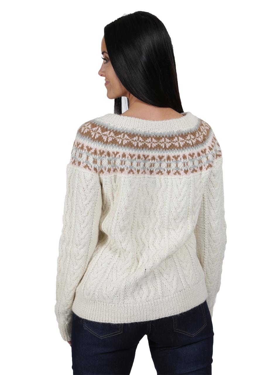 Hand Knit Fair Isle Fisherman Sweater Back