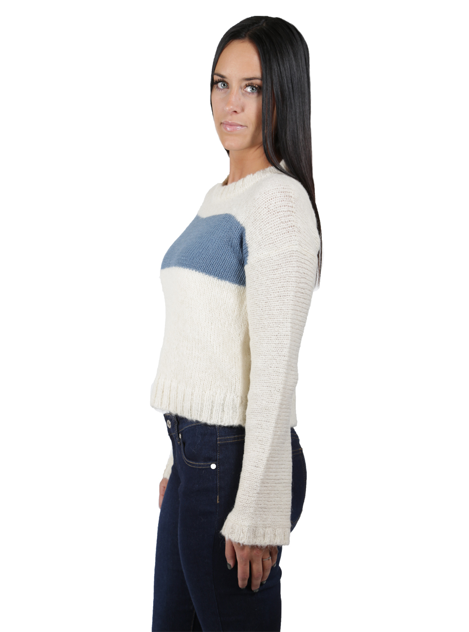 Emmy Striped Alpaca Boucle Pullover Side