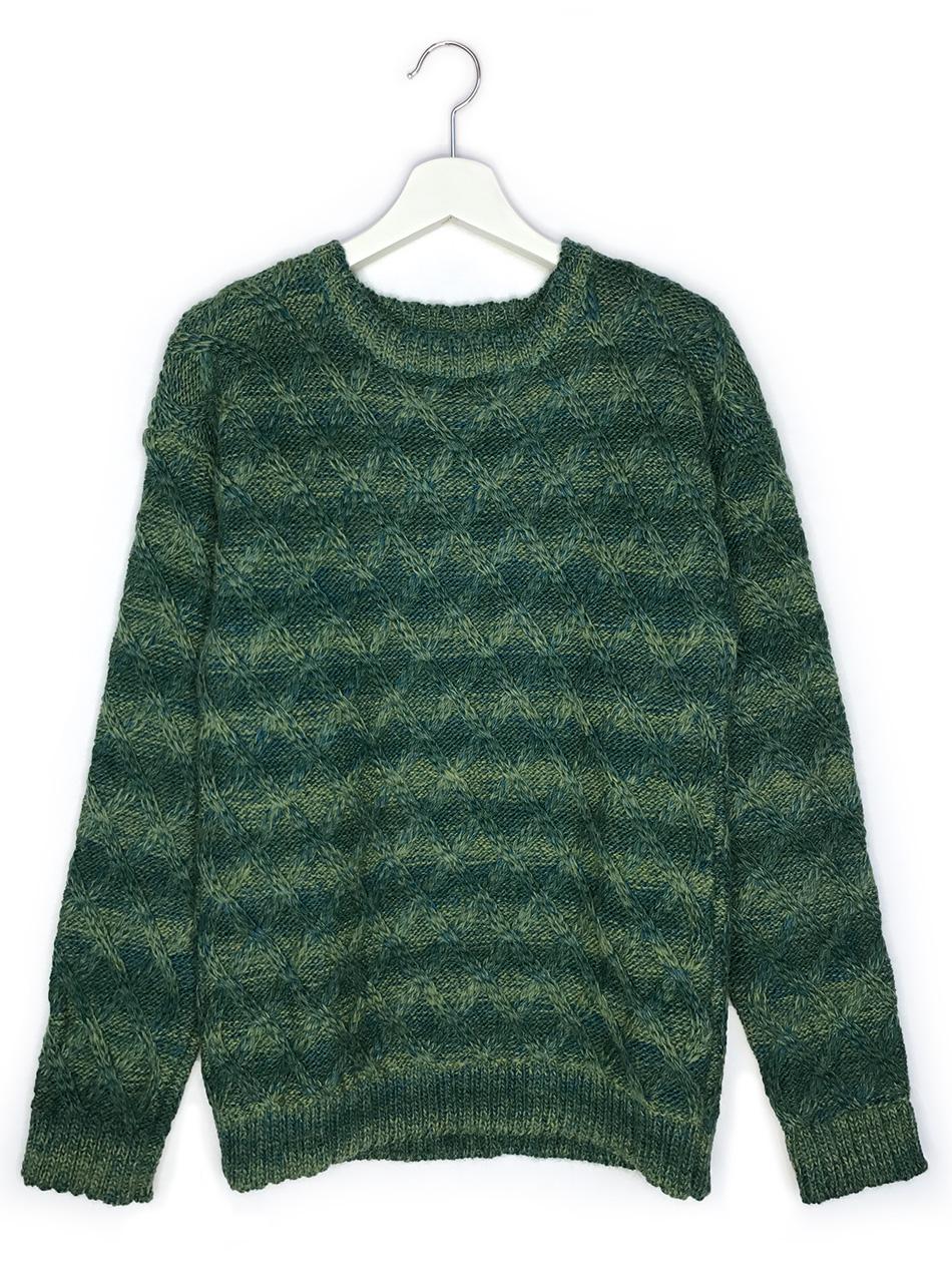 Lattice Knit Alpaca & Wool Pullover  Front Hanging