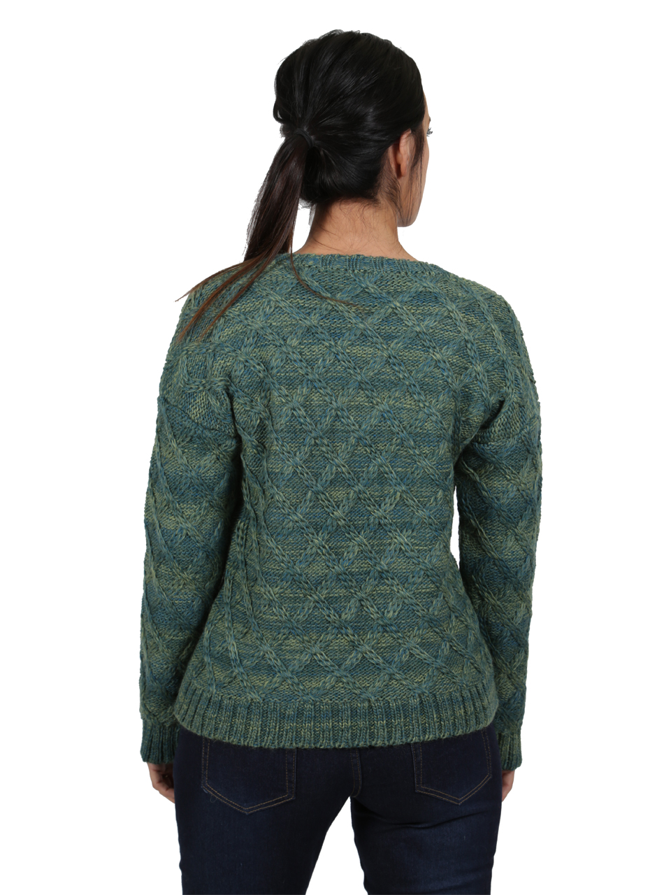 Lattice Knit Alpaca & Wool Pullover Back