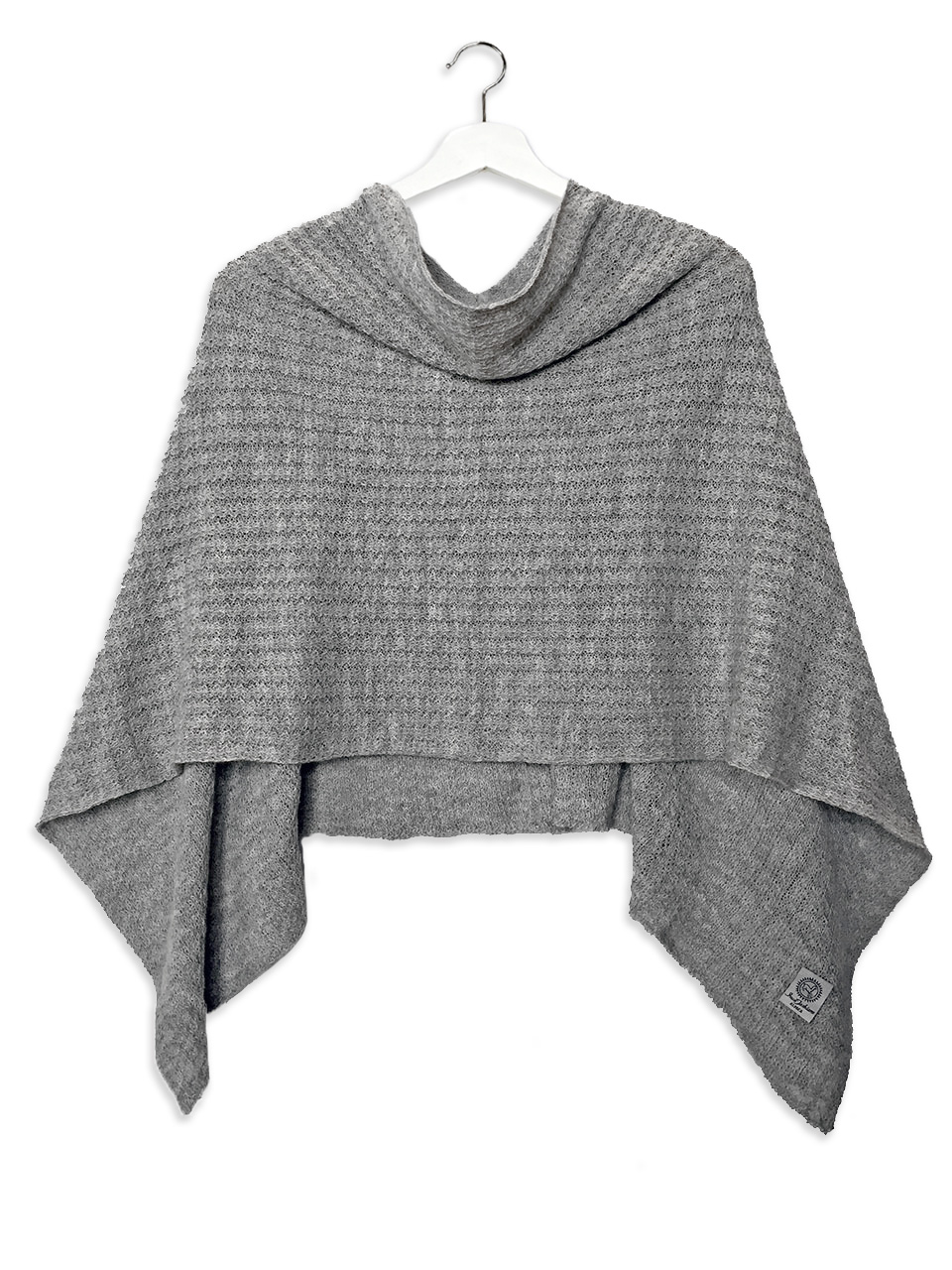 Malibu Alpaca Cable Poncho Worn as cape