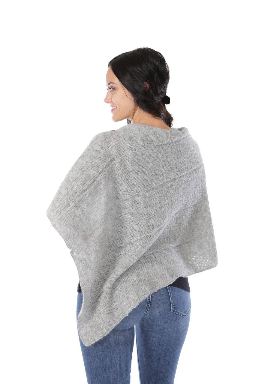 One Button Poncho Back