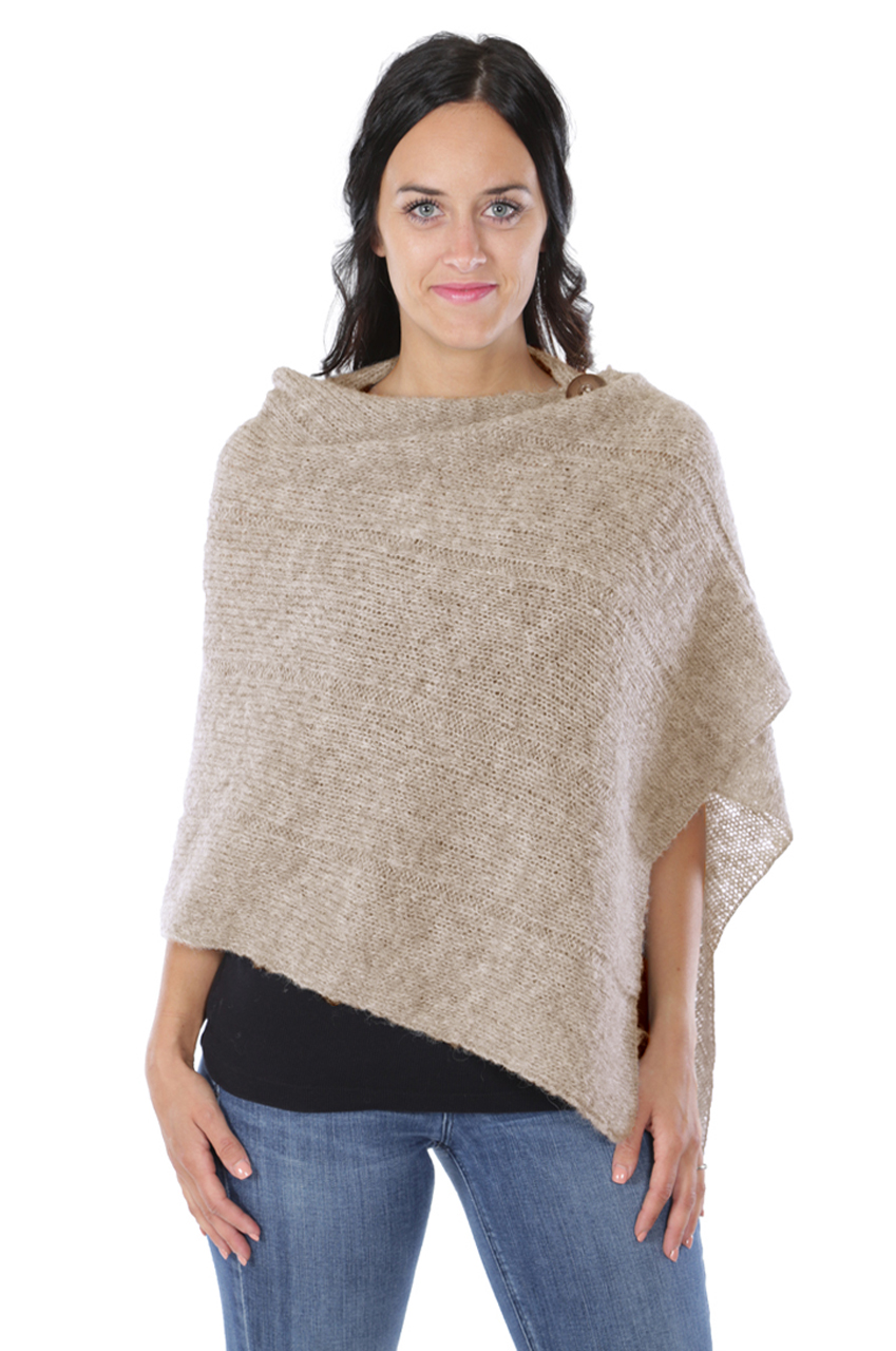 One Button Poncho - Oatmeal Thumbnail