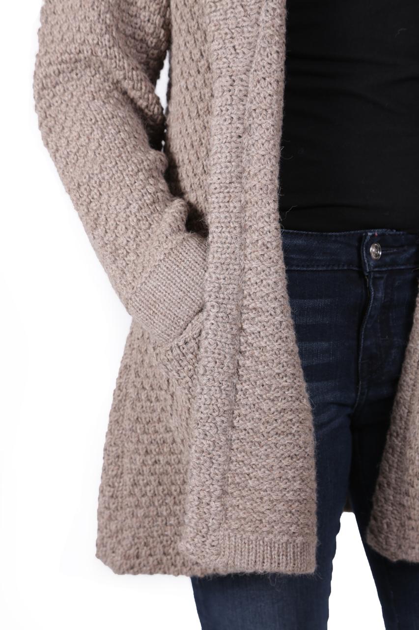 Beatrix Alpaca Cardigan Natural Rose Grey on Model Detail