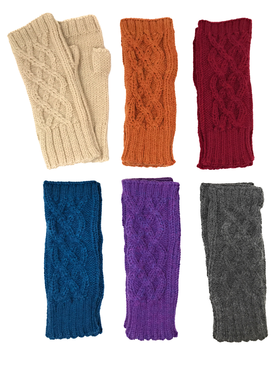 Cable Knit Alpaca Blend Fingerless Gloves / Mittens Vintage colors