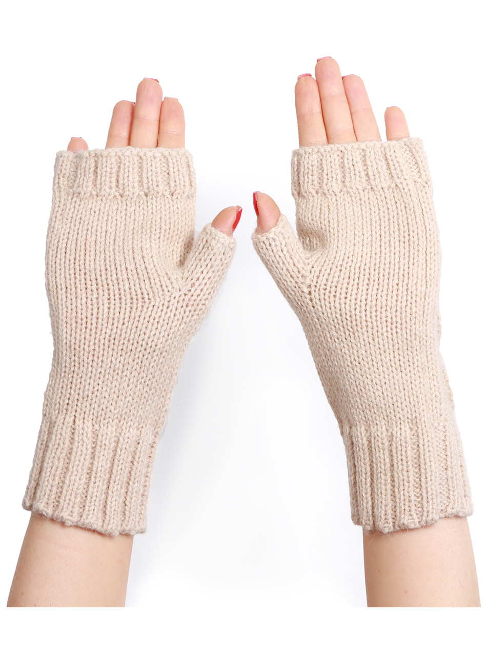 Cable Knit Alpaca Blend Fingerless Gloves / Mittens Palm