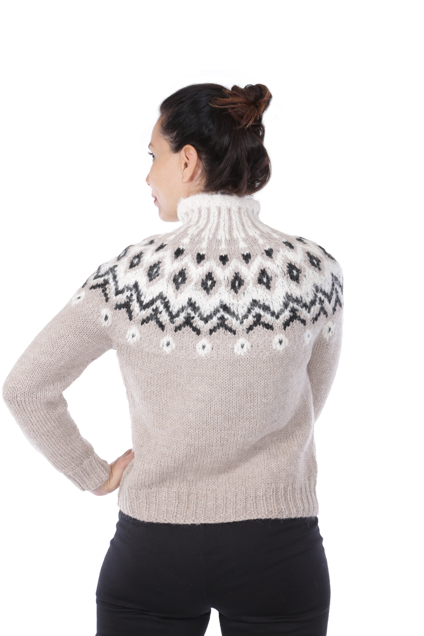 Grace Fair Isle Turtleneck Back on Model