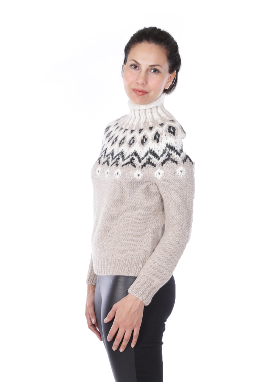 Grace Fair Isle Turtleneck Side-view on Model