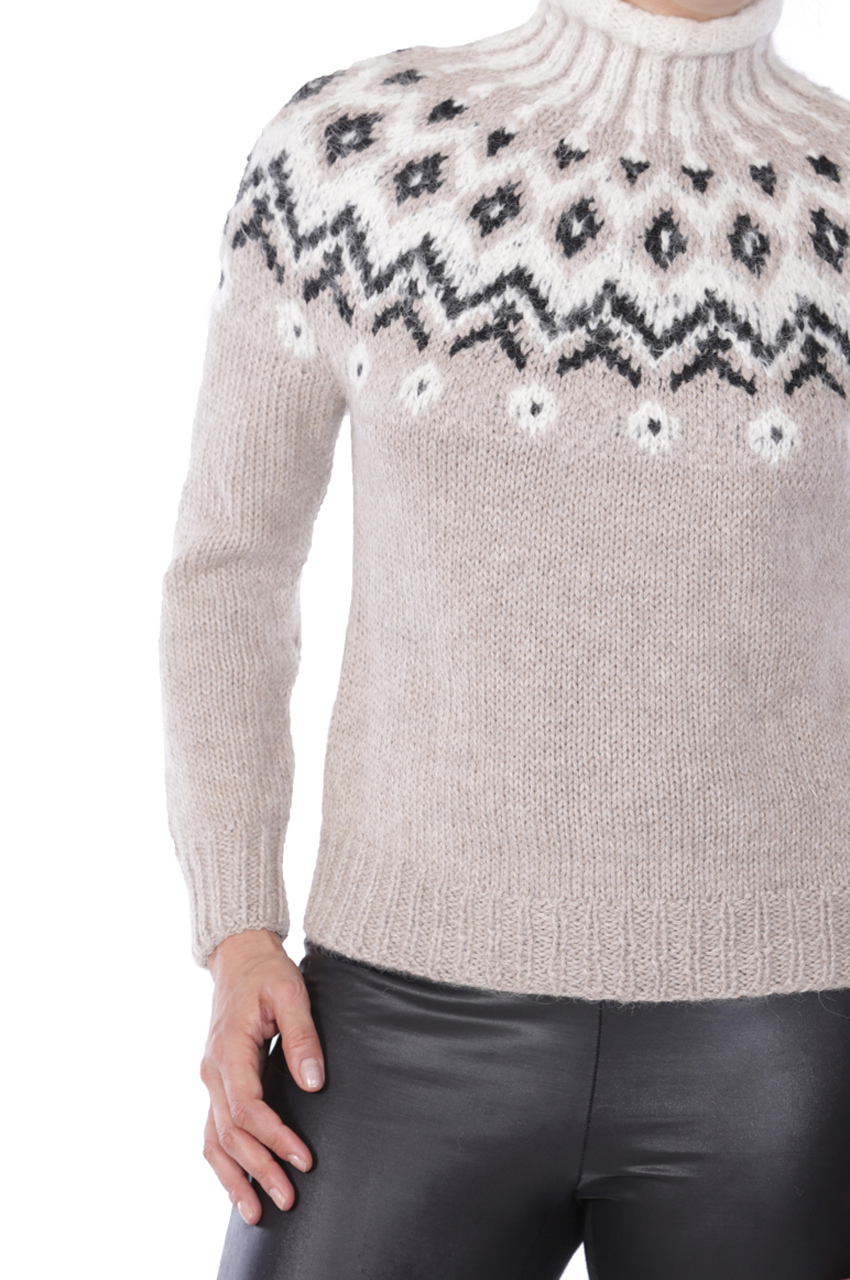 Grace Fair Isle Turtleneck Detail
